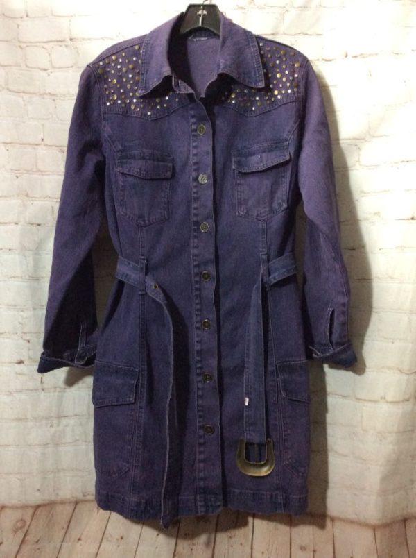 product details: 1990'S DENIM DRESS W/ RHINESTONE & BRASS BEADS photo