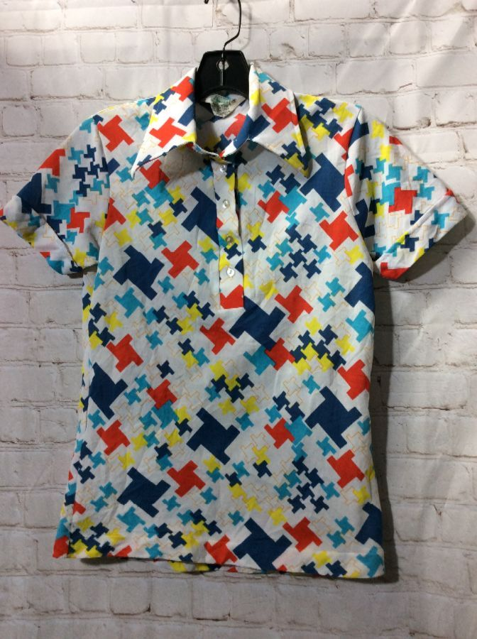 Vintage White Abstract Pattern Short Sleeve Shirt