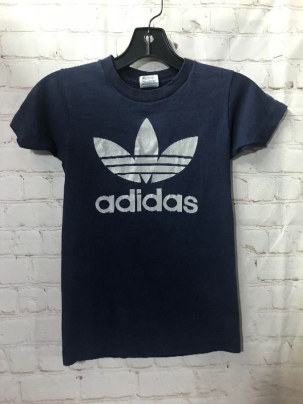 product details: ADIDAS TSHIRT WITH METALLIC SILVER LOGO ON FRONT AND BACK SUPER SMALL FIT photo