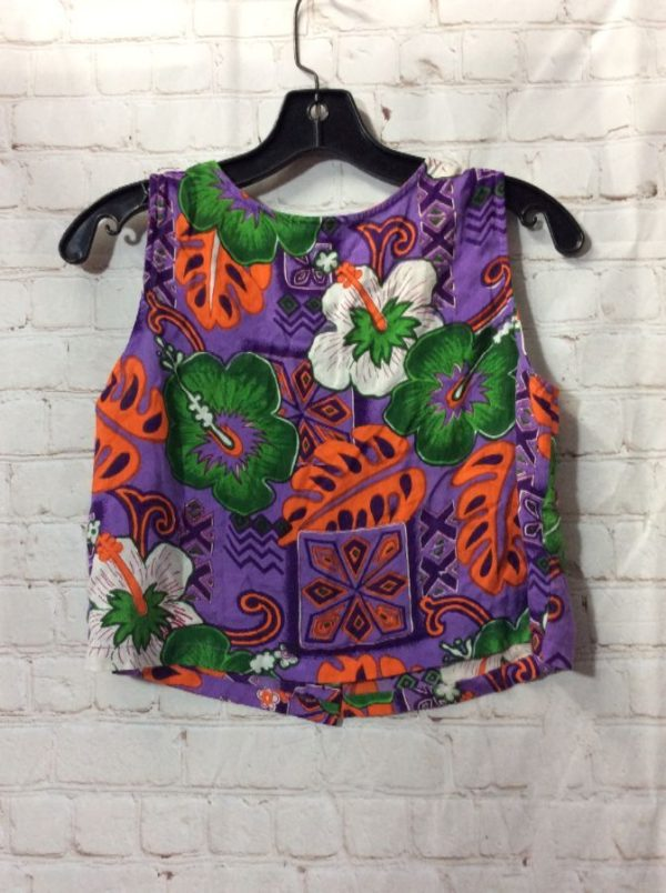 product details: CROPPED TANK TOP W/ TROPICAL FLORAL PATTERN photo