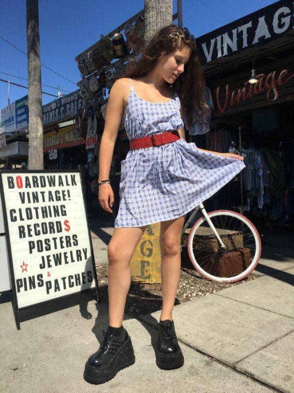 PLAID SHORT BABY DOLL DRESS W/ SPAGHETTI STRAPS