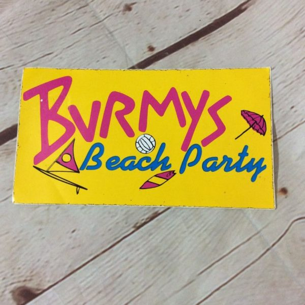 BURMYS BEACH PARTY STICKER
