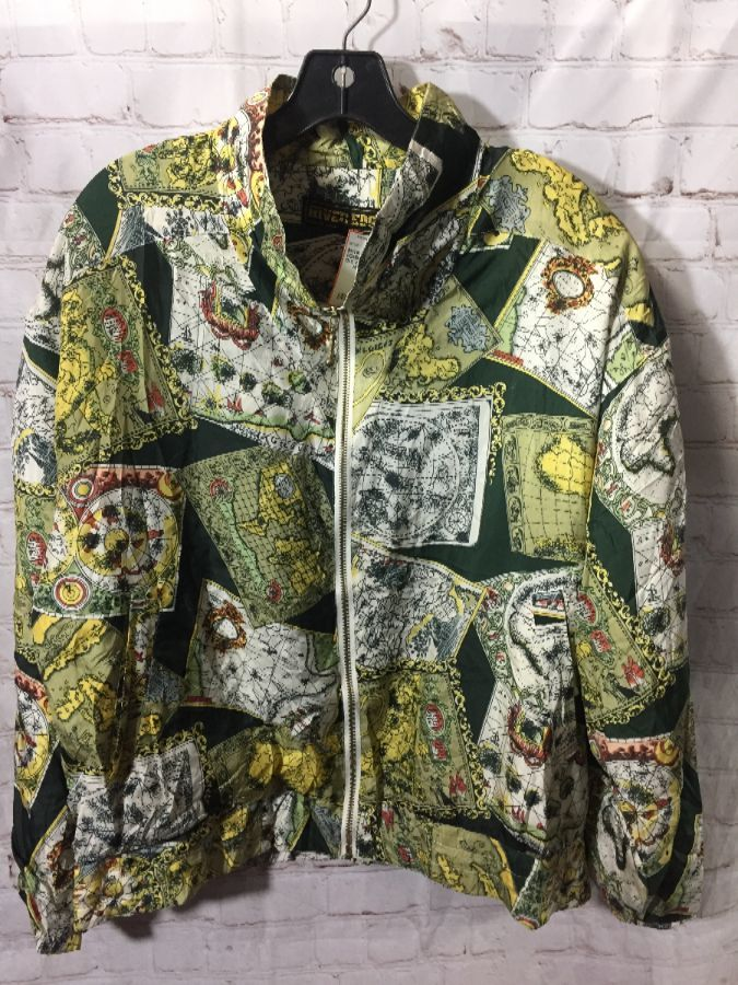 SILK BOMBER JACKET W/ OLD WORLD MAP PRINT