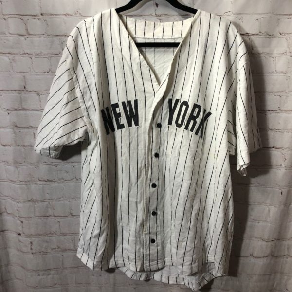 PIN STRIPPED FABRIC NEW YORK YANKEE BASEBALL JERSEY