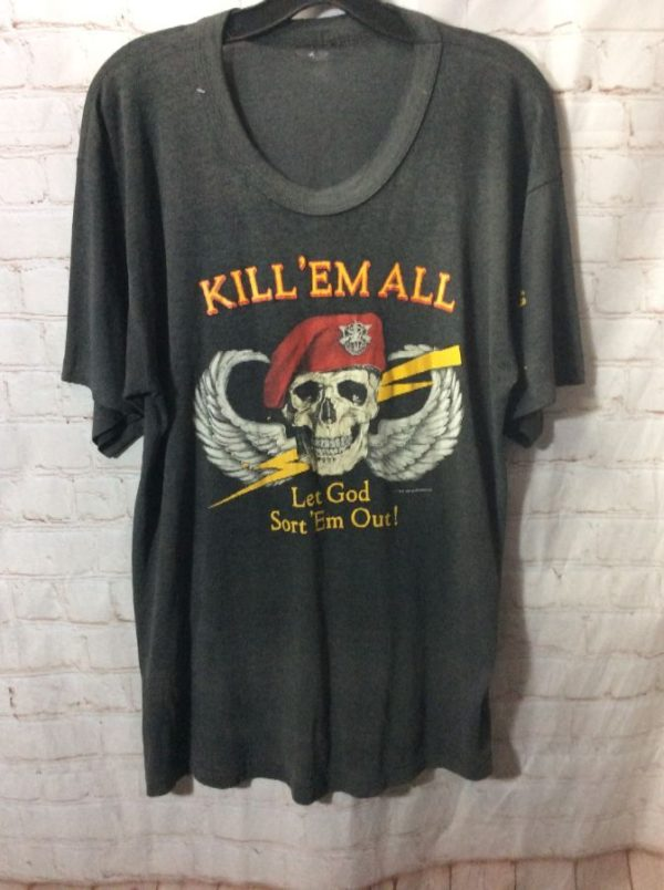 product details: VINTAGE T-SHIRT MILITARY KILL 'EM ALL 1985 photo