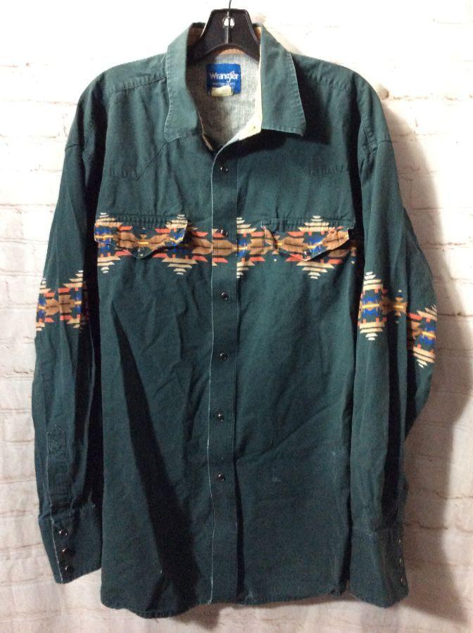 Vintage Wrangler SS men/'s Pearl Snap Western Shirt L 100/% Cotton Dad Shirt Alert !!!
