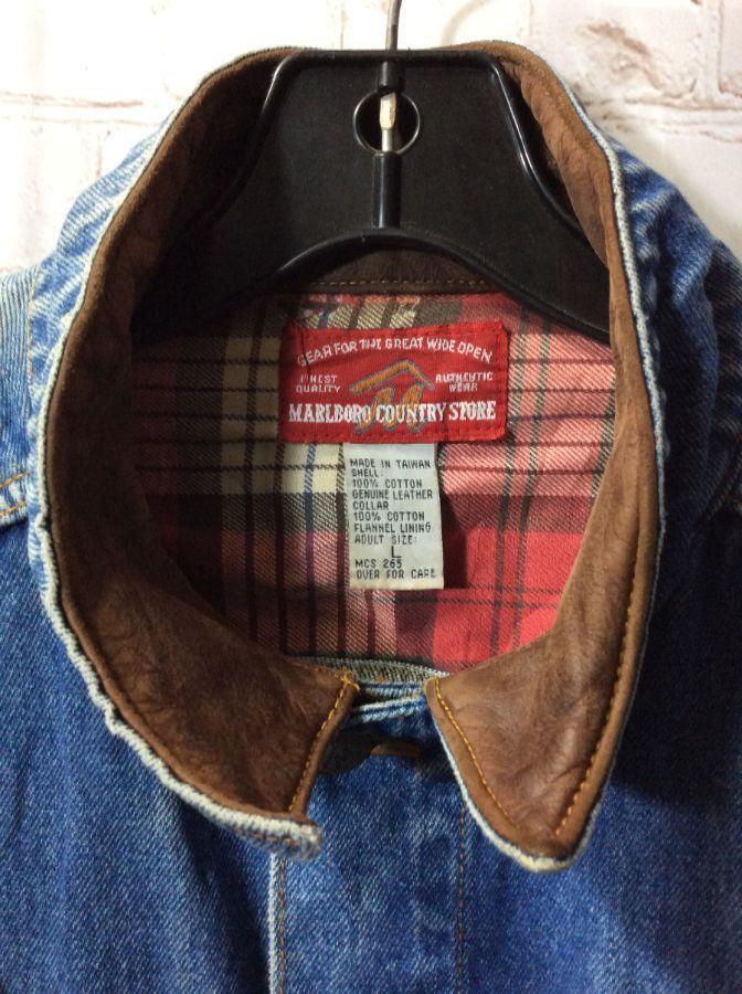 Malboro Country Denim Jacket W Leather Collar Flannel Lining