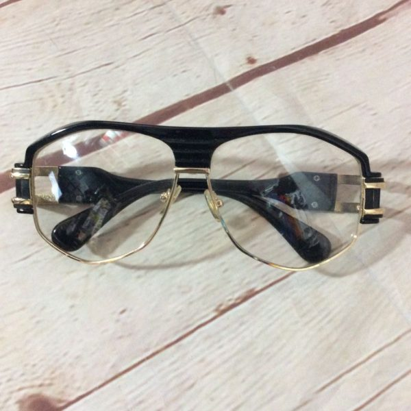 1990s Cazal Eyewear Gold and Black trim Clear