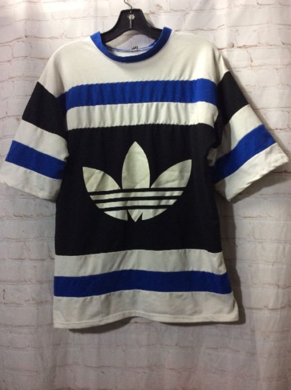 T-SHIRT ADIDAS CREW-NECK HORIZONTAL STRIPED DESIGN