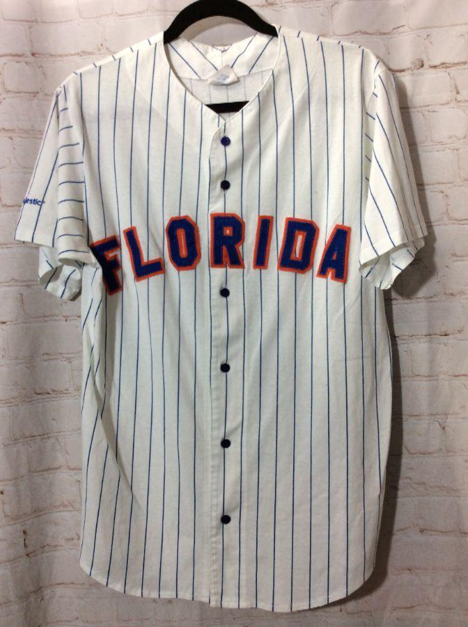 best service 3d8b3 51c09 MLB FLORIDA GATORS PIN-STRIPED FABRIC COTTON BASEBALL JERSEY