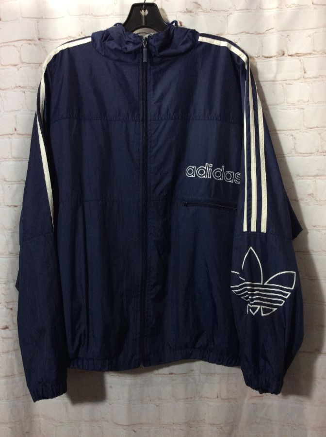 1a422107b01c HOODED LONG SLEEVE WINDBREAKER ZIP-UP ADIDAS » Boardwalk Vintage