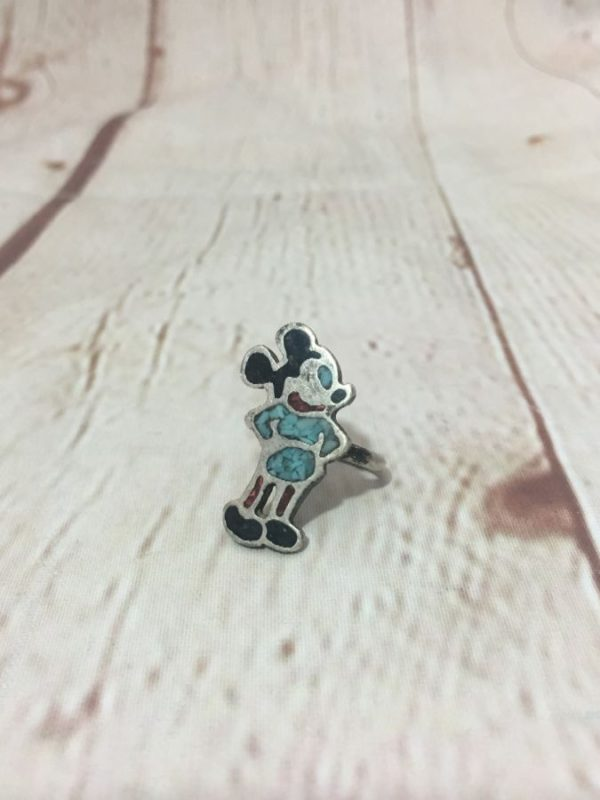 product details: VINTAGE ZUNI STYLE STERLING SILVER MICKEY MOUSE TURQUOISE & CORAL RING photo