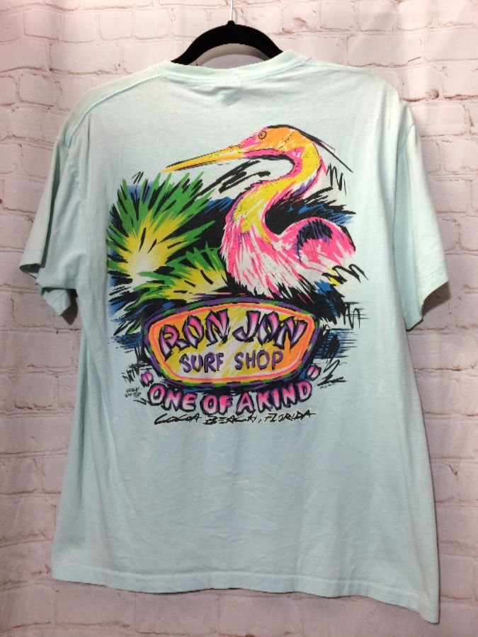 T Shirt Pocket Tee Ron Jon Surf Shop Neon Colors Flamingo