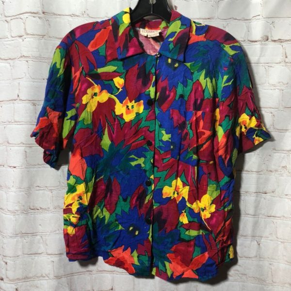 COLORFUL LEAF & FLOWER  ALLOVER PRINT SHIRT W/ COLLAR &  FRONT POCKET