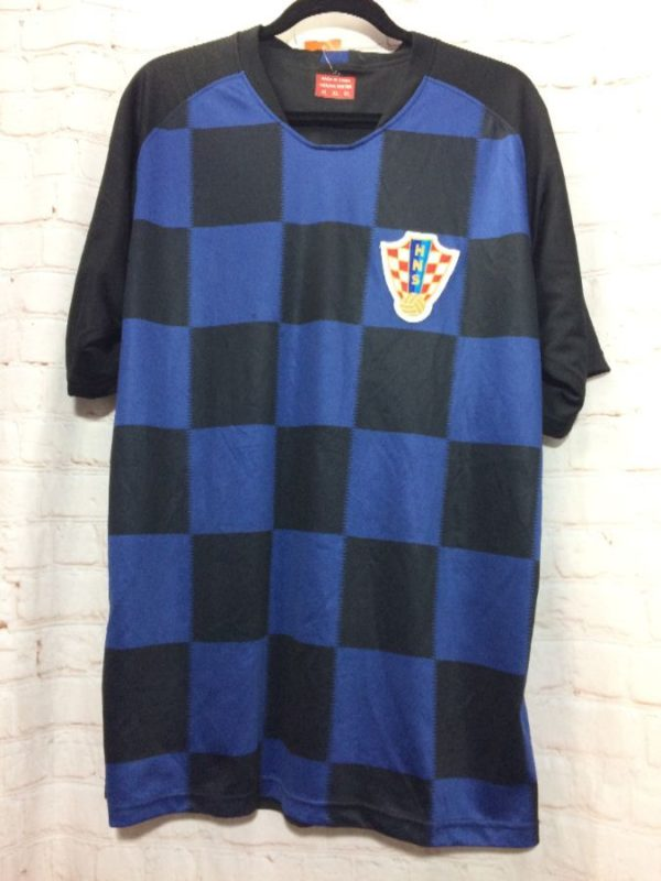 CROATIA SOCCER JERSEY W/ HNS & SOCCER BALL DESIGN & CHECKED FRONT PANEL
