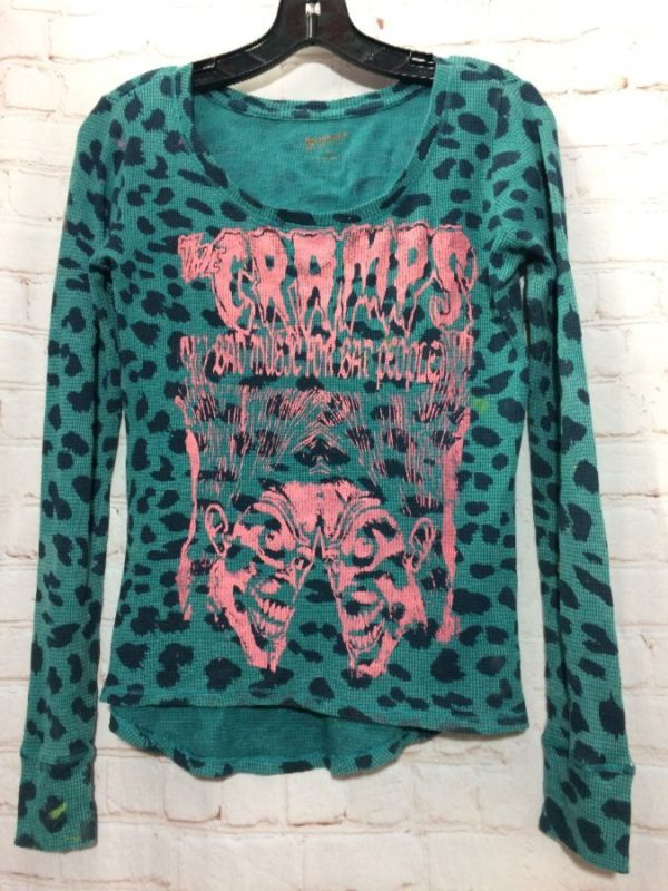 product details: CUSTOM MADE LEOPARD PRINT W/ THE CRAMPS GRAPHIC PRINT THERMAL T-SHIRT photo