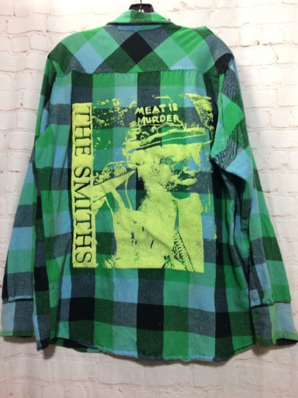product details: LS BD GREEN PLAID FLANNEL CUSTOM THE SMITHS MEAT IS MURDER GRAPHIC *Local Artist photo