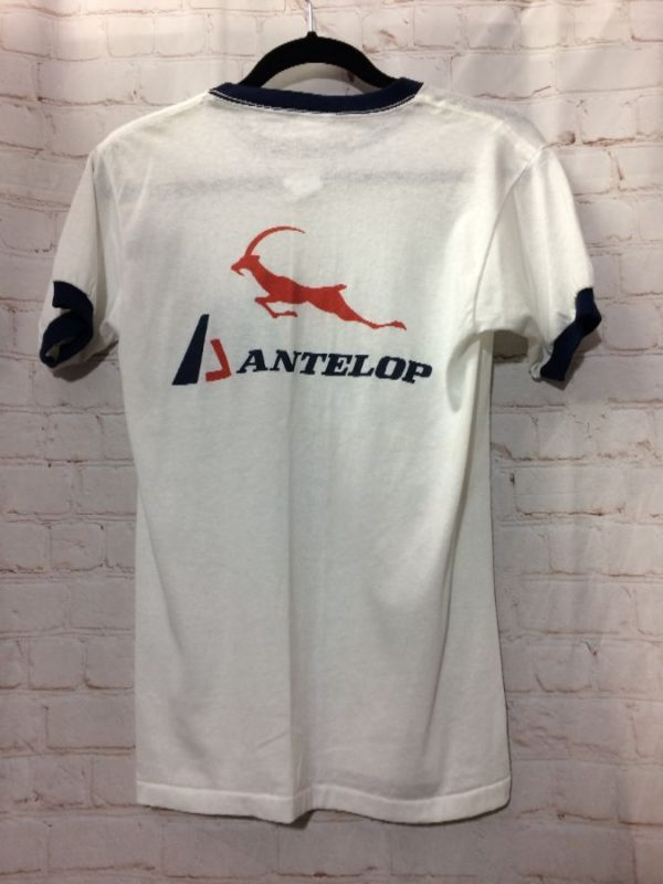 product details: VINTAGE T-SHIRT – RINGER TEE – PASADENA RACQUET CLUB – ANTELOP GRAPHIC photo