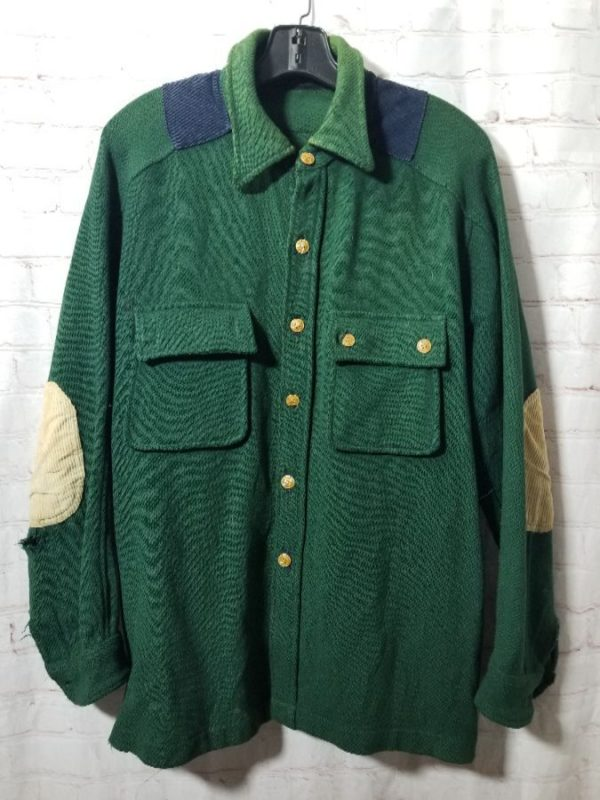 product details: THICK WOOL SHIRT W/ ELBOW & SHOULDER PATCHES photo