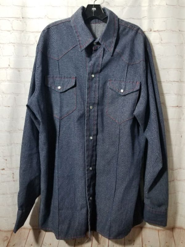 product details: CHAMBRAY SHIRT W/ CONTRAST STITCHING & PEARL SNAPS photo