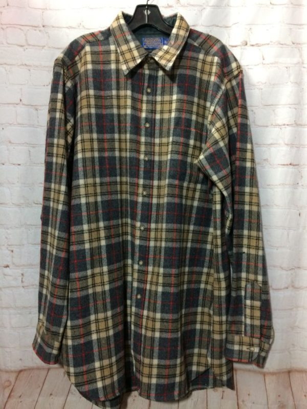 WOOL PLAID DESIGN FLANNEL SHIRT PENDLETON LONG CUT
