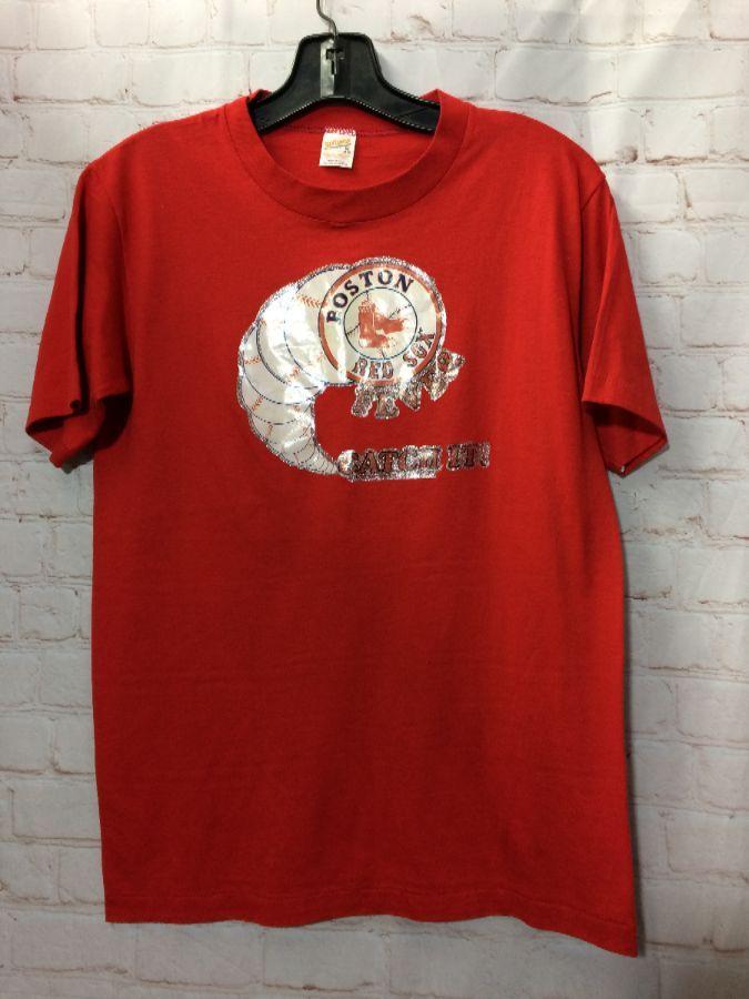 T-SHIRT SINGLE STITCH RETRO HEAT PRESS GRAPHIC BOSTON RED SOX ... f014ec401