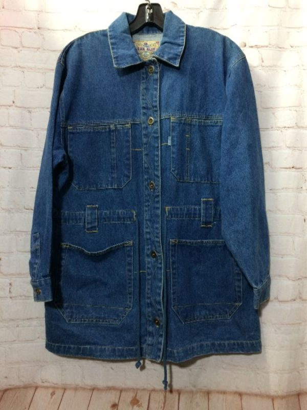 product details: CLASSIC DENIM TRENCH COAT W/ 4 FRONT POCKETS & DRAWSTRING photo