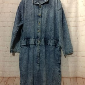 05b0923b3f96 1980 S ACID WASH COTTON DENIM JUMPSUIT W  POCKETS   GATHERED WAIST