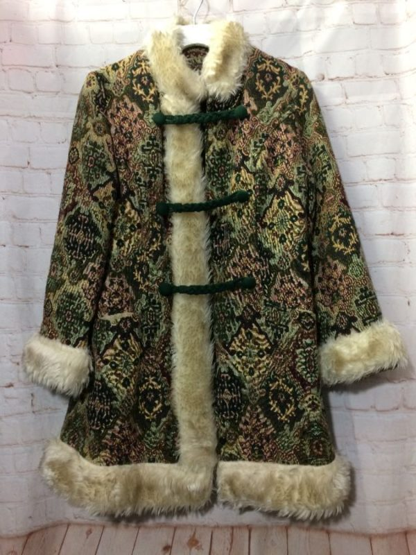 product details: VINTAGE TAPESTRY CARPET COAT BOHO FIT FLARE FAUX FUR CUFFS AND TRIM photo