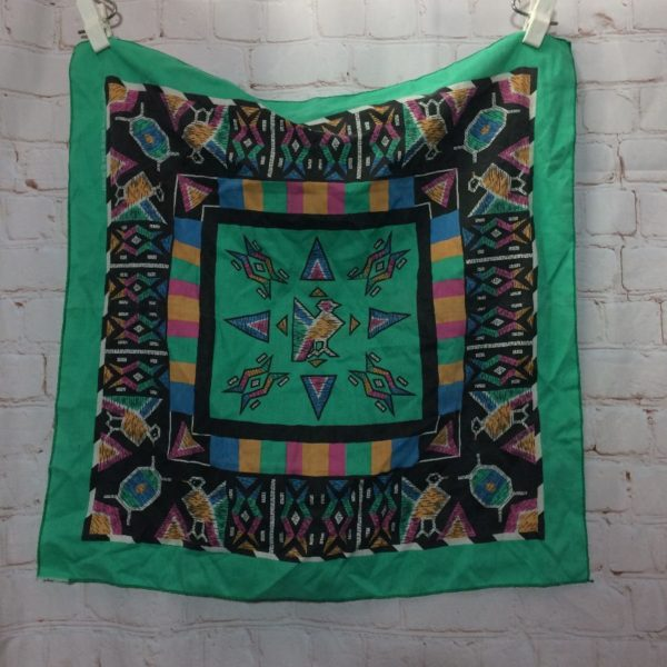 NATIVE AMERICAN BIRD DESIGN W/ TRIANGLES AND ABSTRACT SHAPES PRINT BANDANA