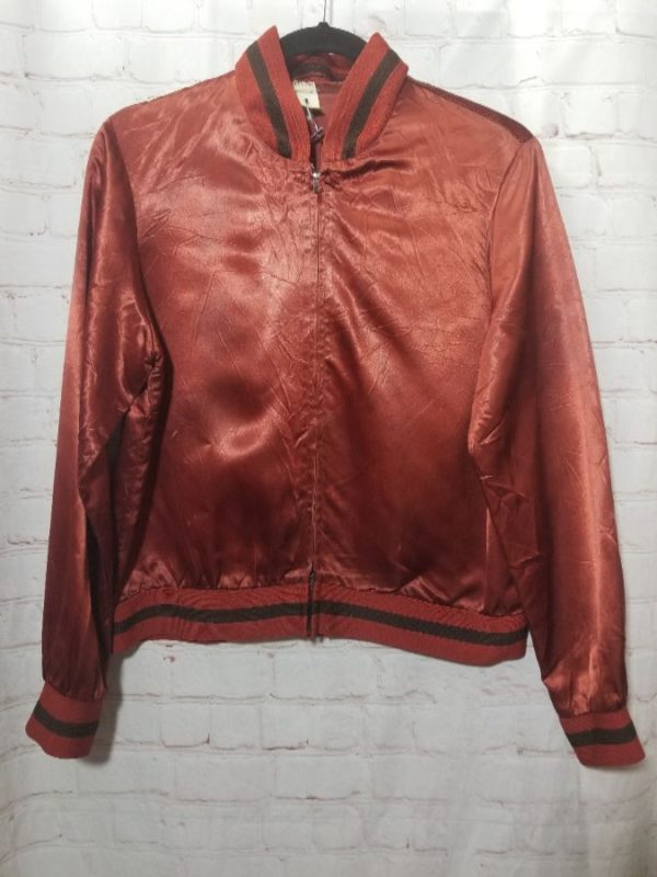 product details: RETRO SATIN ACETATE ZIP-UP BOMBER JACKET W/ RIBBED CUFFS & COLLAR photo