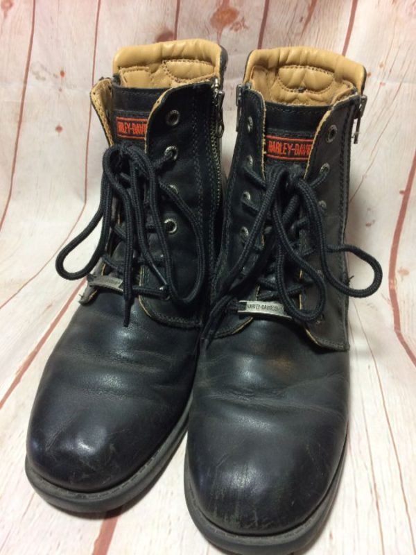 HARLEY DAVIDSON LACE UP W/ SIDE ZIPPER & LEATHER BOOTS