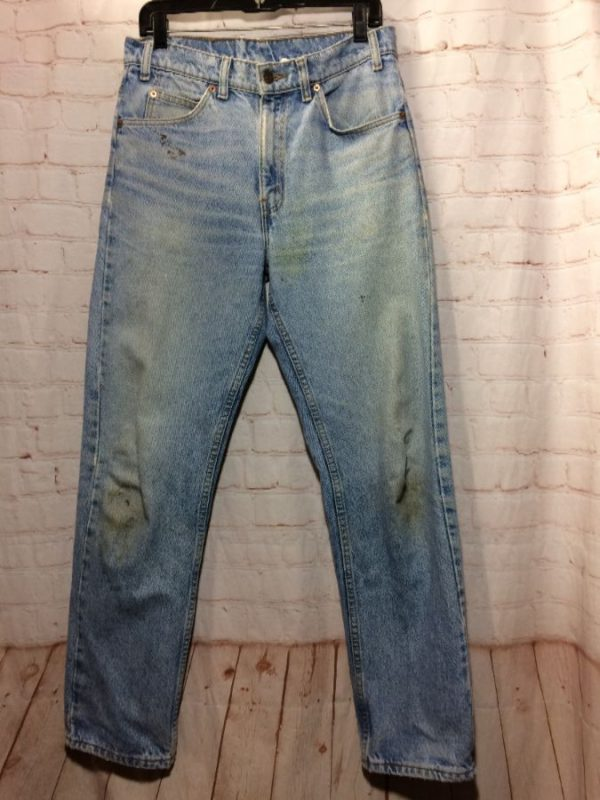 LEVIS DENIM JEANS 505 ORANGE TAB ACID WASHED THRASHED DISTRESSED