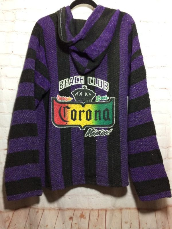 CORONA BEACH CLUB W/ MEXICAN BLANKET FABRIC SWEATSHIRT BAJA HOODIE