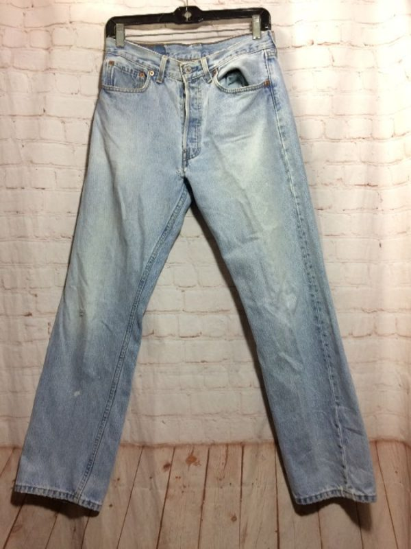 LEVIS DENIM JEANS 501 RED TAB CLASSIC ACID WASHED