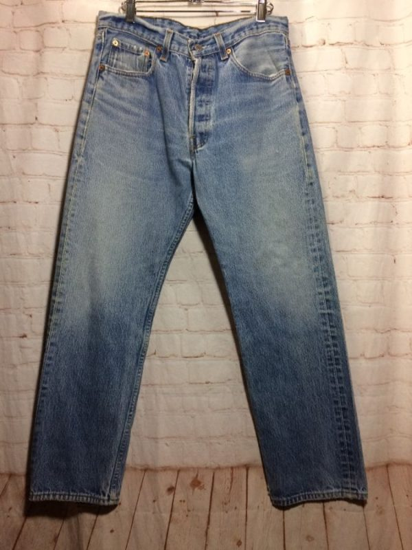 LEVIS DENIM 501 JEANS W/ RED TAB PERFECT ACID WASHED