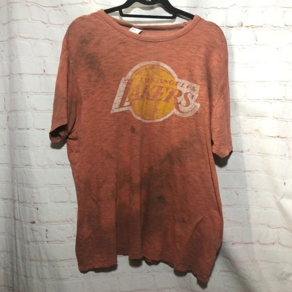 product details: LAKERS T-SHIRT SUPER THIN TATTERED W/ BURN-OUT FABRIC photo
