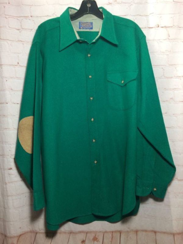 WOOL PENDLETON COLLARED SHIRT W/ SUEDE ELBOW PATCHES & FRONT POCKET