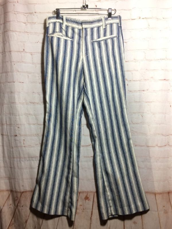 product details: STRIPED 1970S RETRO FLARED LEG PANTS W 28 X L 37 photo