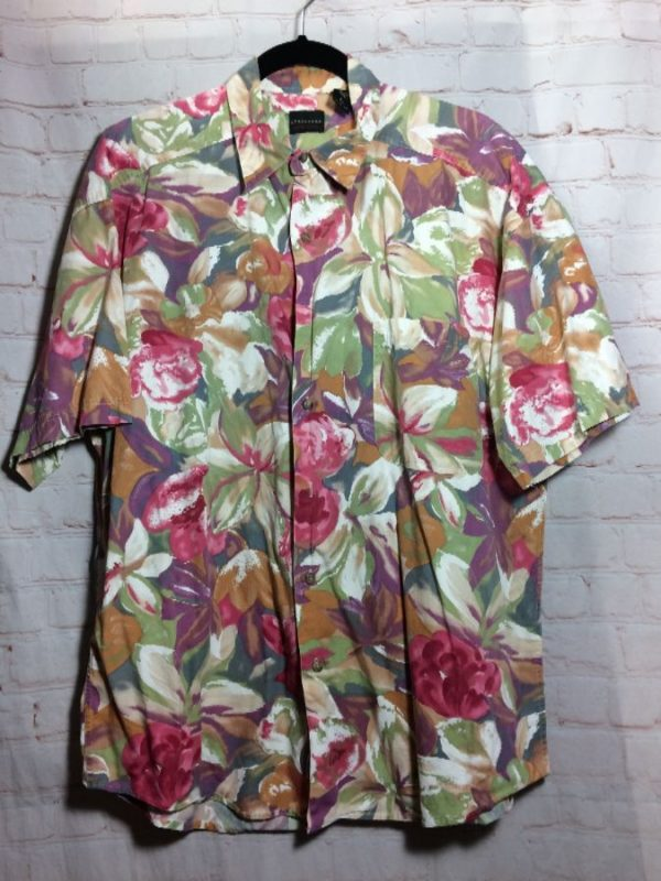 product details: FALL FLORAL PAINTERLY PRINT COTTON SHIRT W/ COLLAR & FRONT POCKET photo