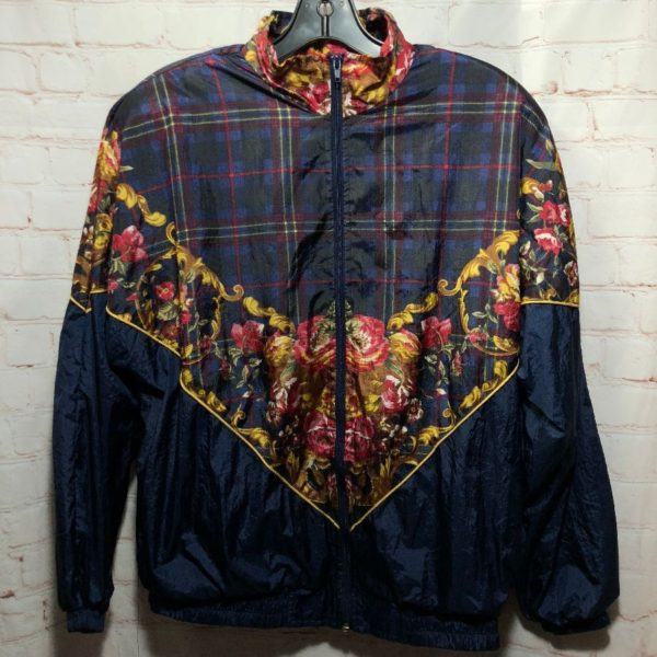 1980'S PLAID & FLORAL PATTERN BAROQUE PRINT WINDBREAKER