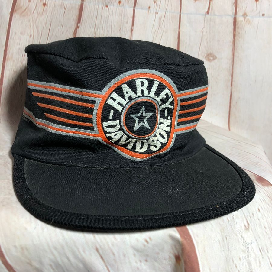 VINTAGE HARLEY DAVIDSON BASEBALL CAP COTTON PAINTERS PILLBOX STYLE ... ea431222847