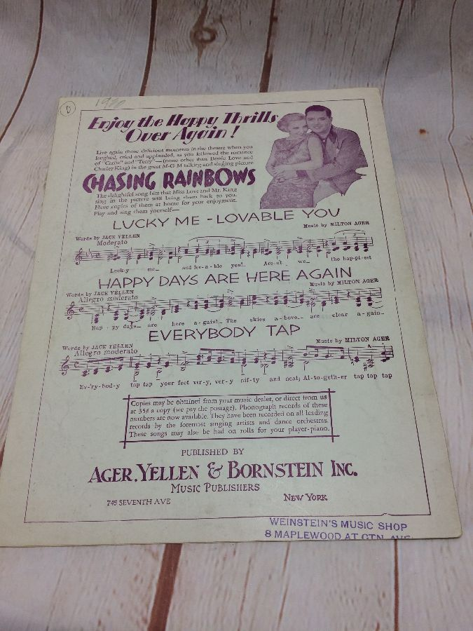 CHASING RAINBOWS - HAPPY DAYS ARE HERE AGAIN - MUSIC SHEET