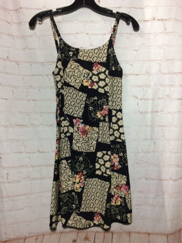 1990'S MIXED PATCHWORK W/  FLORAL & PAISLEY PRINTS MINI DRESS