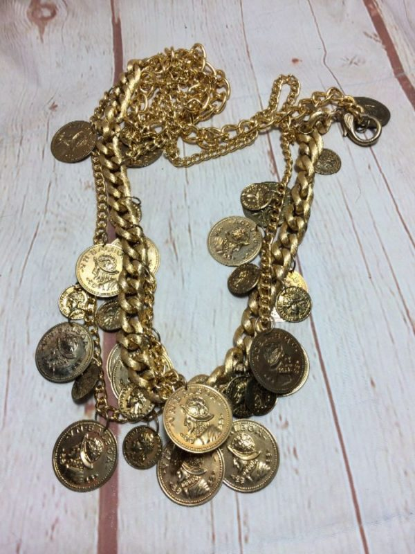 product details: CLASSIC GOLD COINS ON CHAIN LINK BELT photo