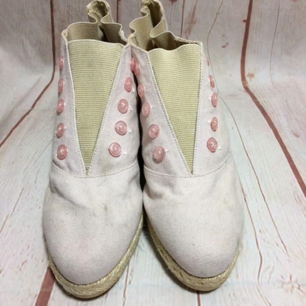 product details: 1980'S CANVAS ESPADRILLE BOOTIES WOVEN SOLES photo