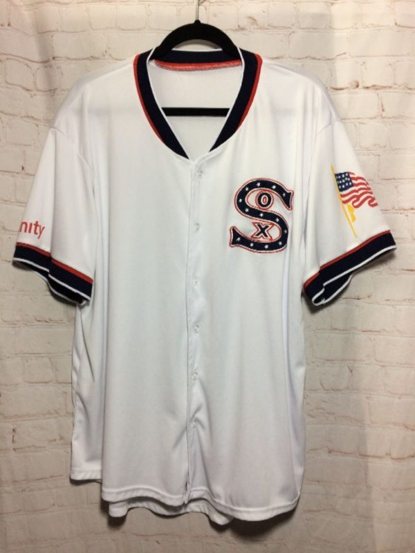 SOX BASEBALL JERSEY XFINITY & AMERICAN FLAG GRAPHICS ON SLEEVES