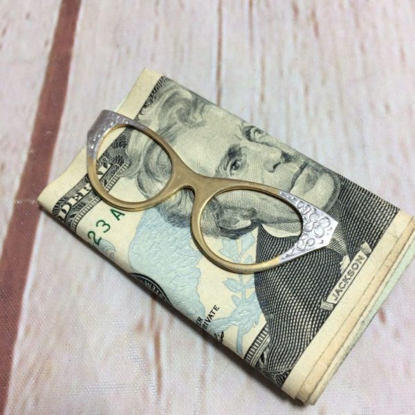 TWO-TONES BRASS & SILVER METAL DECORATIVE CAT- EYE GLASS DESIGN MONEY CLIP
