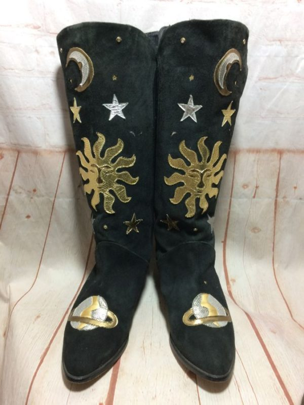 product details: LEATHER BOOTS W/ COSMIC STARS MOON SUN EARTH PATCH photo