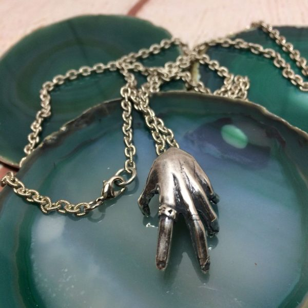 product details: OVERSIZED GANGSTER HAND PENDANT ON TEXTURED SILVER CURB CHAIN photo